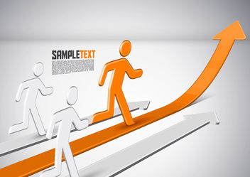 Peoples Running Up with Arrows Corporate Background - Free vector #166373