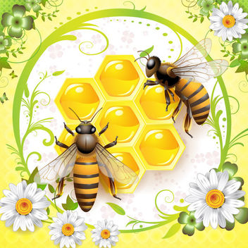 Floral Graphic with Honey Bees - Free vector #166393