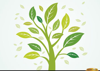Plant with leaves in the wind - Free vector #166403