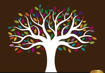 White trunk tree with colored leaves - vector gratuit #166443