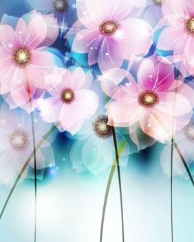 Fluorescent Colorful Abstract Flowers Background - vector gratuit #166583