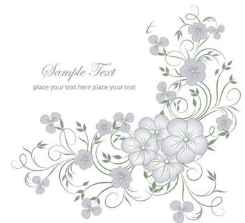 Elegant Full Blossom Flourish Greeting Card - vector gratuit #166603