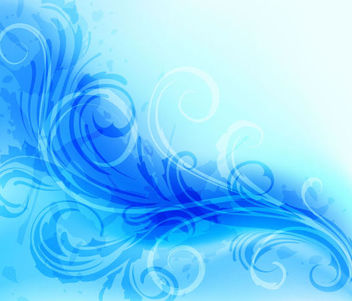 Abstract Floral Background with Blue Swirls - vector gratuit #166623