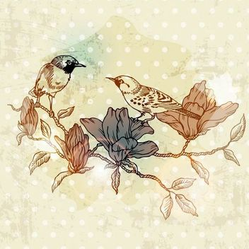 Retro Birds on a Branch Grungy Paint - Kostenloses vector #166663