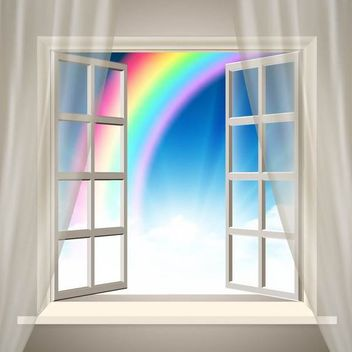 Realistic Interior Background with Rainbow - бесплатный vector #166843