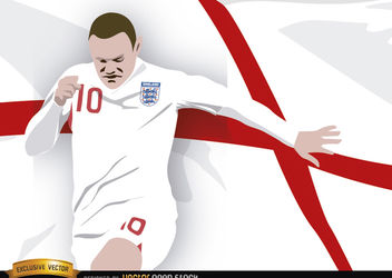 England footballer Wayne Rooney with flag - vector #166853 gratis