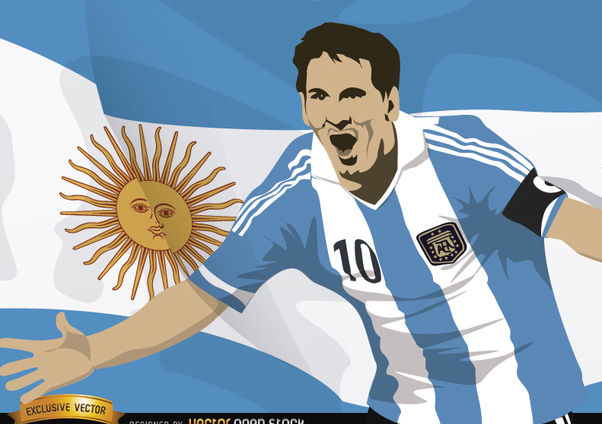 Football player Messi with Argentina flag - vector gratuit #166863
