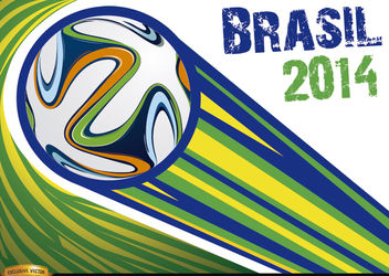 Brazil 2014 ball thrown with stripes - vector gratuit #166873