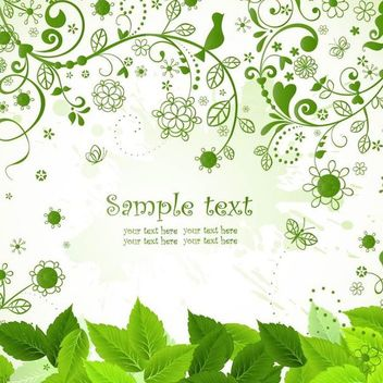 Fresh Green Nature Background with Flourish - vector gratuit #166903