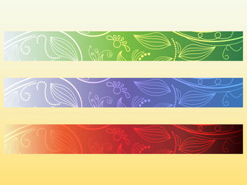 3 Colors Wide Floral Banner - vector gratuit #167093