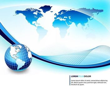 Blue Business Background with Globe and Waves - бесплатный vector #167223