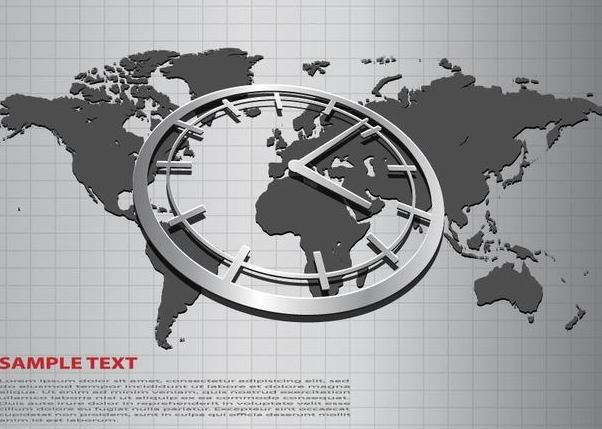 Business Background with World Map and Clock - vector gratuit #167303