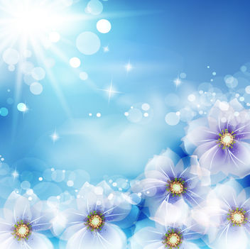 Shiny Background with Fantasy Flowers and Sun Glares - vector #167363 gratis