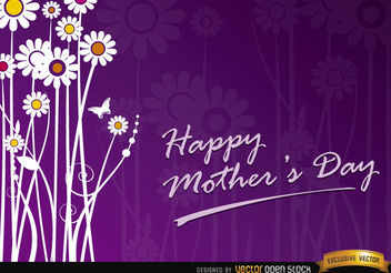 Mother's day flowers gift card - vector gratuit #167373