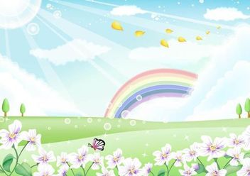 Fresh Nature Landscape with Rainbow Sky - Free vector #167393