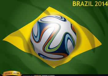 Brazil flag 2014 with official soccer football - бесплатный vector #167513