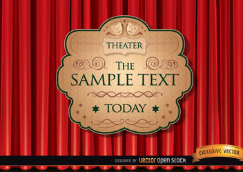 Theater ad with red curtain - vector gratuit #167543