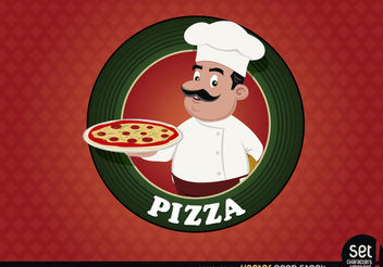Pizza logo seal with chef - vector gratuit #167553