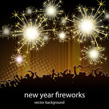 Celebration Firework with Silhouette Crowds - Free vector #167833