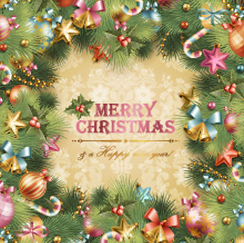 Template Xmas Card with Tree Frame - vector gratuit #167883