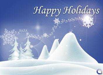 Christmas Background with Snowy Landscape - vector gratuit #167913