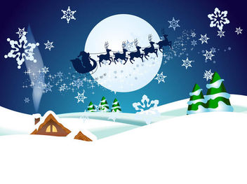 Santa Claus with Reindeer in Christmas Night - Free vector #167953