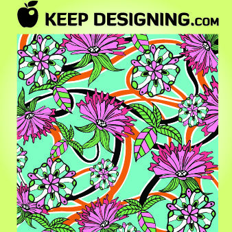 Detailed Summer Floral Pattern - vector gratuit #167973