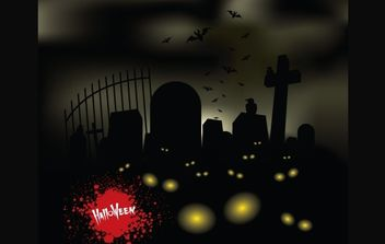 Horror Halloween Theme Graveyard - vector gratuit #168093
