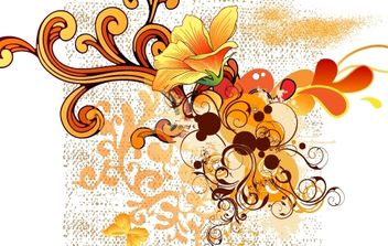 Colorful Swirl Floral Shape Vector - vector gratuit #168343