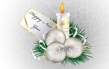 Christmas and New Year Candle Illustration - vector gratuit #168603