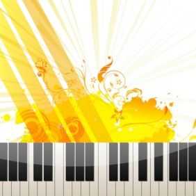 Piano Keys on Abstract Background - vector gratuit #168883
