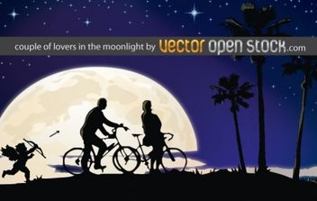 Couple of lovers in the moonlight - Free vector #169423
