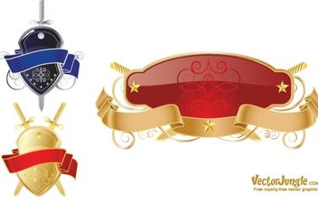 FREE VECTOR SHIELD AND RIBBONS - vector gratuit #169913