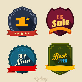 Retro Colorful Minimal 4 Badges - Free vector #170343