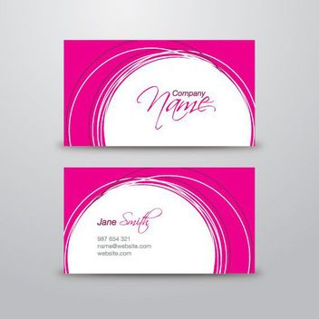 White Circles Pink Business Card - vector gratuit #170353