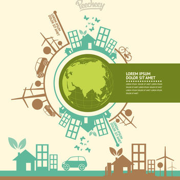 Green World Ecology Minimal Infographic - Free vector #170363