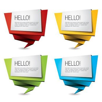 Multicolored Origami Banner Set - vector gratuit #170523