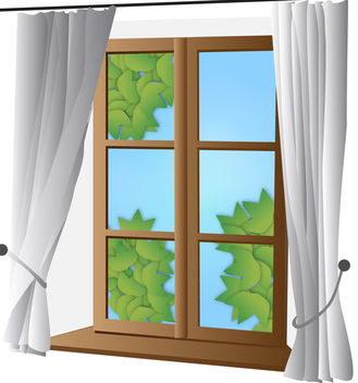 Closed Window with Curtain - Free vector #170553