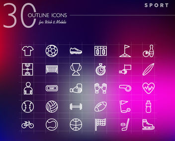 30 Line Art Sport Icons - Free vector #170593