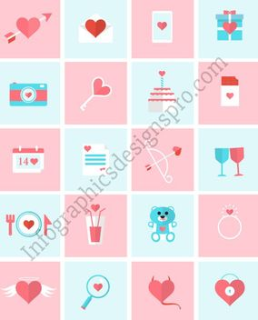 Flat Valentine Icon Pack - Free vector #170633