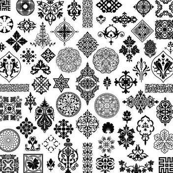 Decorative Vintage Black-White Ornament Set - Free vector #170663