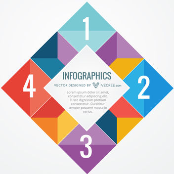 Cornered Rectangle Colorful Polygonal Squares Infographic - vector gratuit #170683