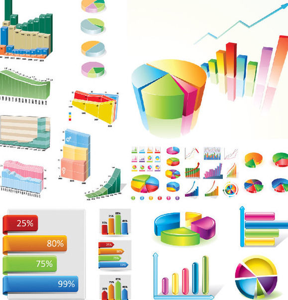 Creative Statistic Charts Infographic Set - Free vector #170763