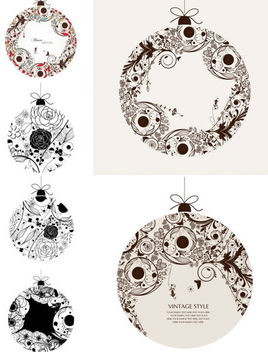 Floristic Vintage Ornamental Ball Set - Kostenloses vector #170793