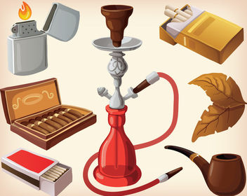 Sleek Style Smoking Equipment Set - vector gratuit #170843