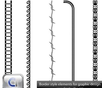Abstract Black & White Border Set - Free vector #170863