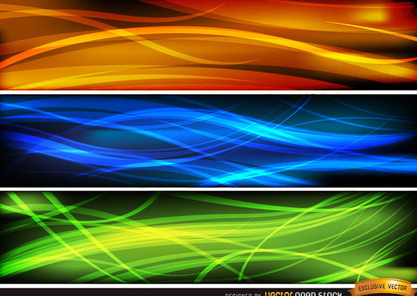 Abstract wave headers orange blue green - Free vector #170883