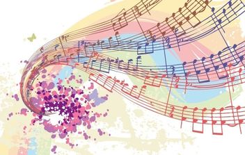 Free Vectors: Colorful Musical Notes - Free vector #171153