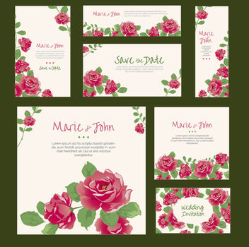 Roses Wedding Invitation various formats - vector gratuit #171403