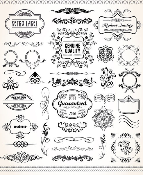 Vintage graphic set - Free vector #171413